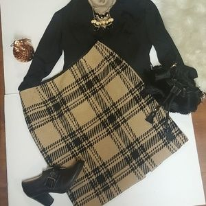 Ann Taylor Wool Blend Black Tan Plaid  Skirt Retro
